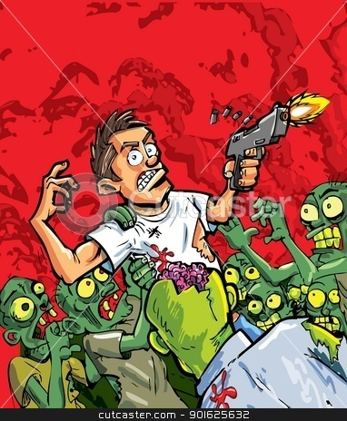 Cartoon of zombies attacking a man with a gun stock vector clipart, Cartoon of zombies attacking a man with a gun. Red background by antonbrand