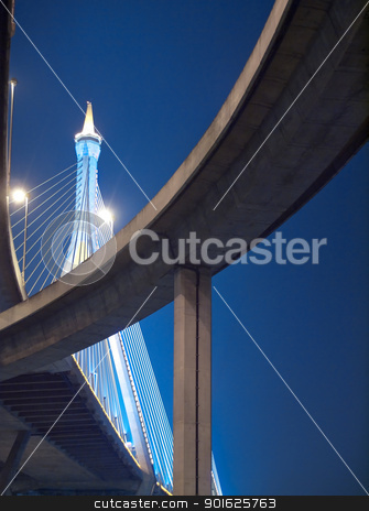 Bhumibol Bridge stock photo, Intersection expressway with grade separation illuminate with spotlight on deep blue sky, Bhumibol Bridge, Samut Prakarn,Thailand by Exsodus