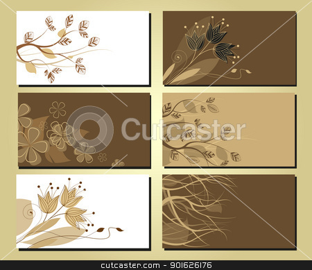 business cards 14 stock vector clipart, business cards with a floral motif and tree branches by Miroslava Hlavacova