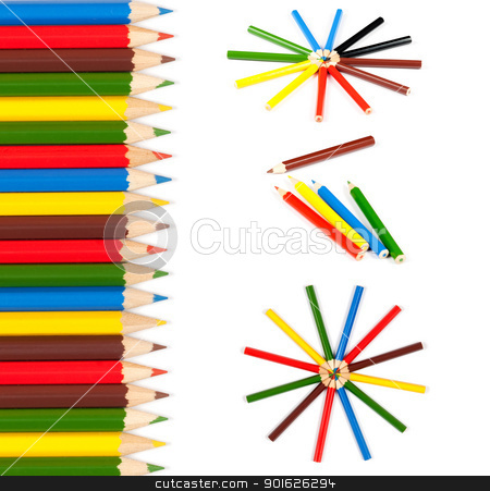 Color pencils stock photo, Assortment of colorful pencils with shadow over white background.Copy space by borojoint