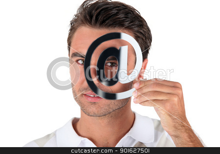 Man holding at symbol stock photo, Man holding at symbol by photography33