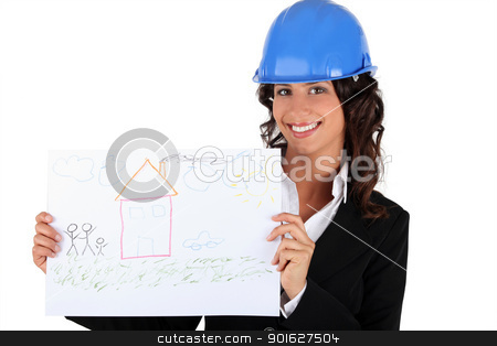 architect businesswoman holding a drawing stock photo, architect businesswoman holding a drawing by photography33