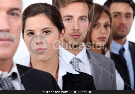 Head and shoulder shot of five city workers stock photo, Head and shoulder shot of five city workers by photography33