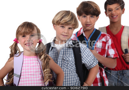 Row of schoolchildren stock photo, Row of schoolchildren by photography33