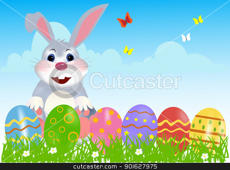 Happy Easter Bunny with Eggs stock vector clipart, Happy easter bunny with colored eggs. Easter card  by monicaodo