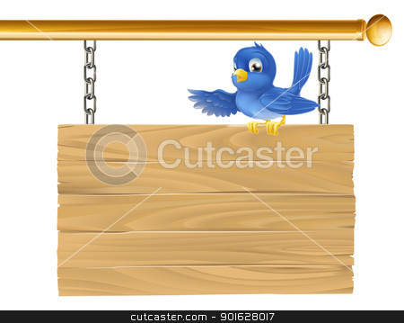 Cute bluebird hanging sign stock vector clipart, Cute bluebird sitting on hanging sign showing what it says with his wing