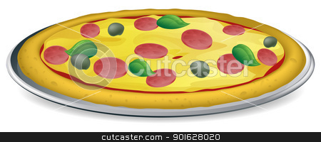 Pizza illustration stock vector clipart, Illustration of a tasty looking peperoni and olive pizza with basil  leaves by Christos Georghiou
