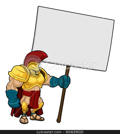 Tough Spartan or Trojan holding sign board stock vector clipart, Cartoon illustration of a tough looking Spartan or Trojan soldier holding a sign board  by Christos Georghiou