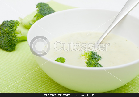 Cream of Broccoli Soup stock photo, Closeup of Cream of Broccoli Soup in White Bowl by JAMDesign