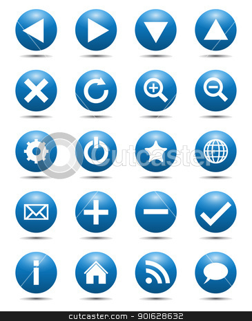Blue Navigation Web Icons stock vector clipart, Blue Navigation Web Icons Isolated on White Background by kurkalukas