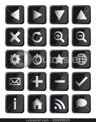 Glossy Black Square Navigation Web Icons stock vector clipart, Glossy Black Square Navigation Web Icons Isolated on White Background by kurkalukas