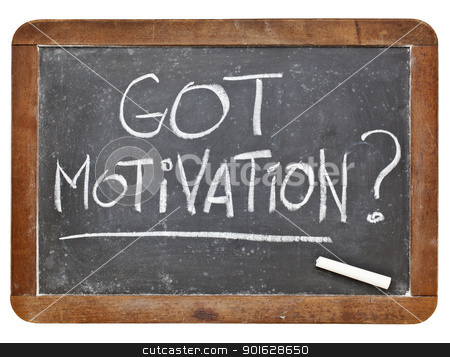 Got motivation question stock photo, Got motivation question - white chalk handwriting on vintage grunge slate blackboard by Marek Uliasz