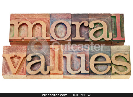 moral values - ethics concept stock photo, moral values - ethics concept - isolated phrase in  vintage letterpress  wood type by Marek Uliasz