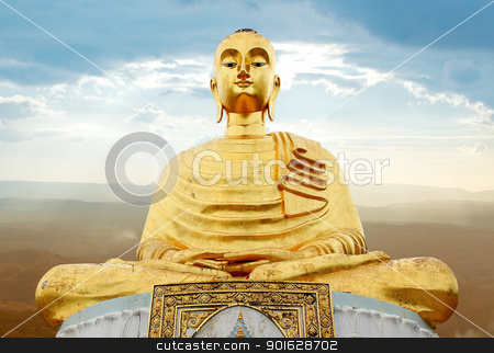 gloden buddha in the sunrays stock photo, buddha; buddhism; building; color; colorful; culture; decoration; emerald; famous; gold; golden; grand by Prakaymas vitchitchalao