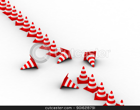 Traffic Cones. 3D illustration. Isolated, on white background  stock photo, Traffic Cones. 3D illustration. Isolated, on white background   by dacasdo
