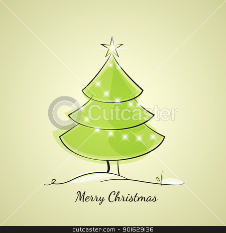 Christmas tree stock vector clipart, Christmas tree of light chain by Miroslava Hlavacova