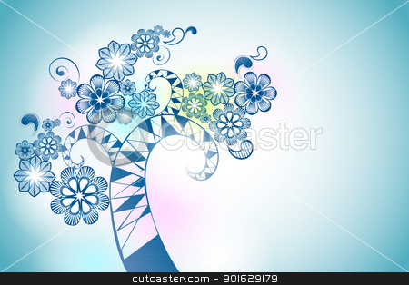 flowers stock vector clipart, background with blue flowers, a place for your text by Miroslava Hlavacova