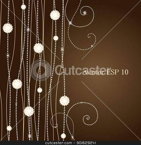 background  stock vector clipart, brown background with flowers by Miroslava Hlavacova