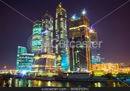 Skyscrapers at nighttime stock photo, International Business Centre buildings at night by Alexey Popov