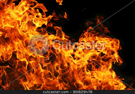 Fire stock photo, Fire burning on black background by Alexey Popov