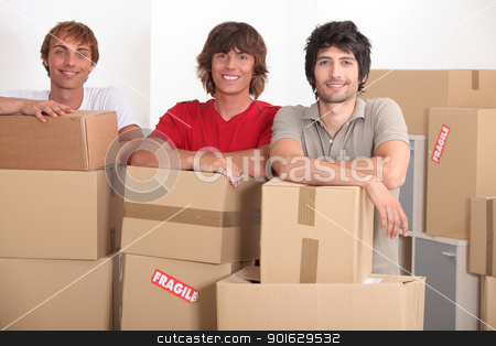 teenagers moving together into a new apartment stock photo, teenagers moving together into a new apartment by photography33