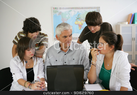 Students with teacher stock photo, Students with teacher by photography33