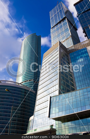 Modern skyscrapers in the sky stock photo, Modern business skyscrapers in Moscow city, Russia by Alexey Popov