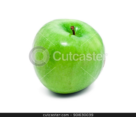Green apple stock photo, Green apple isolated on white background by Alexey Popov