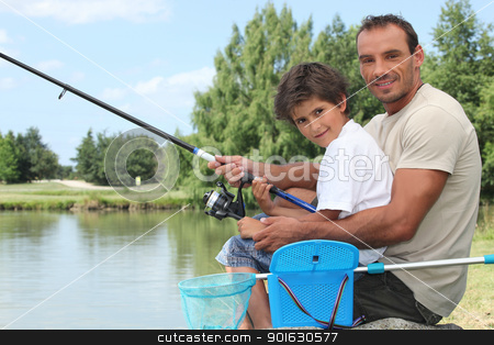 Father and son fishing stock photo, Father and son fishing by photography33