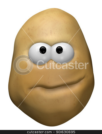 potato face stock photo, funny potato with cartoon face - 3d illustration by J?