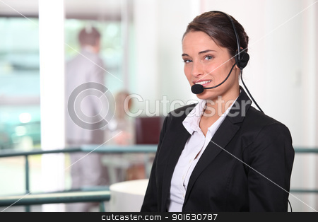 Woman  smiling with headset stock photo, Woman  smiling with headset by photography33