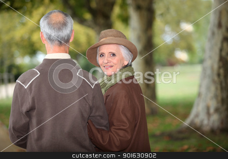 senior couple walking in the park stock photo, senior couple walking in the park by photography33