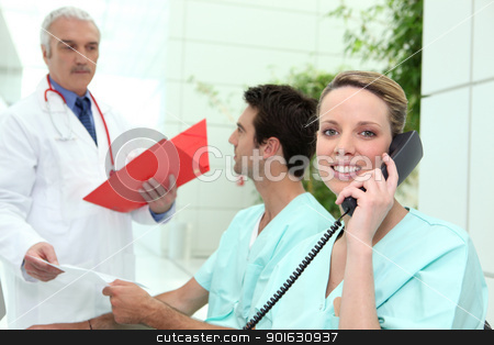 Busy hospital reception area stock photo, Busy hospital reception area by photography33