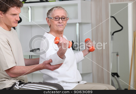 senior woman doing exercises stock photo, senior woman doing exercises by photography33