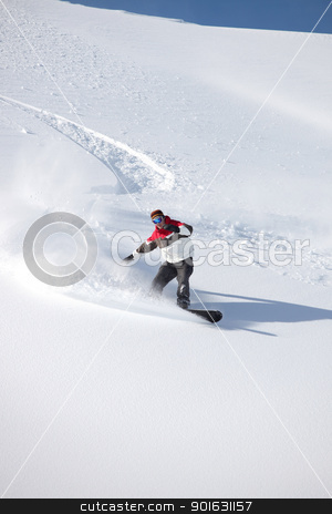 Man snowboarding on isolated piste stock photo, Man snowboarding on isolated piste by photography33