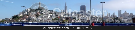 San Francisco Panorama stock photo, From the top of a parking structure a panorama of San Francisco. by Henrik Lehnerer