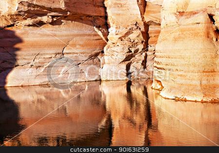 Antelope Slot Canyon Reflection Lake Powell Arizona stock photo, Orange White Antelope Slot Canyon Water Reflection Abstract Glen Canyon Recreation Area Lake Powell Arizona by William Perry