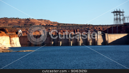 Glen Canyon Dam Lake Powell Electric Power Towers Lines Arizona stock photo, Glen Canyon Dam Lake Powell Electric Power Towers Arizona by William Perry