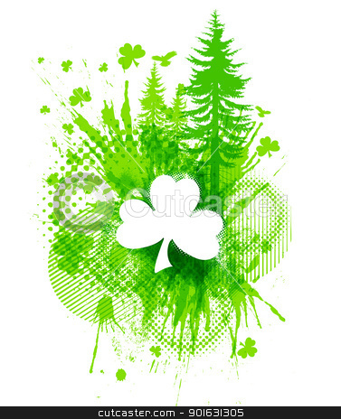 ST. Patricks Clover collage  stock vector clipart, Abstract St. Patricks lucky clover collage illustration by Liviu Peicu