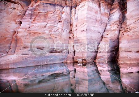 Pink Walls Antelope Slot Canyon Reflection Lake Powell Arizona stock photo, Pink Canyon Walls Antelope Slot Canyon Water Reflection Abstract Glen Canyon Recreation Area Lake Powell Arizona by William Perry