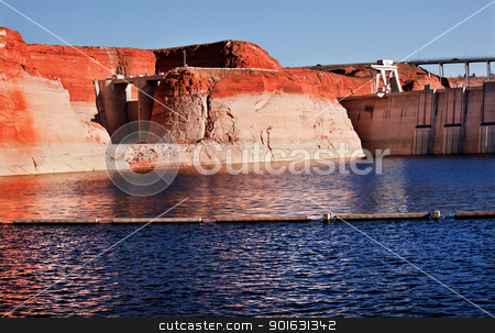 Glen Canyon Dam Lake Powell Canyon Walls Arizona stock photo, Glen Canyon Dam Lake Powell Orange Yellow Canyon Walls Reflections Arizona by William Perry