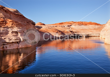 Antelope Canyon Reflection Lake Powell Arizona stock photo, Antelope Canyon Reflection Glen Canyon Recreation Area Lake Powell Arizona by William Perry