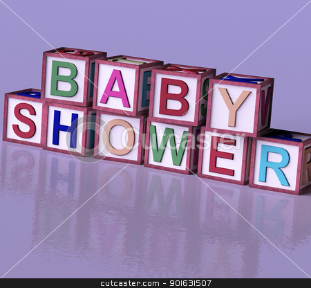 Kids Blocks Spelling Baby Shower As Symbol for Babies And Newbor stock photo, Kids Wooden Blocks Spelling Baby Shower As Symbol for Babies And Newborns Party by stuartmiles