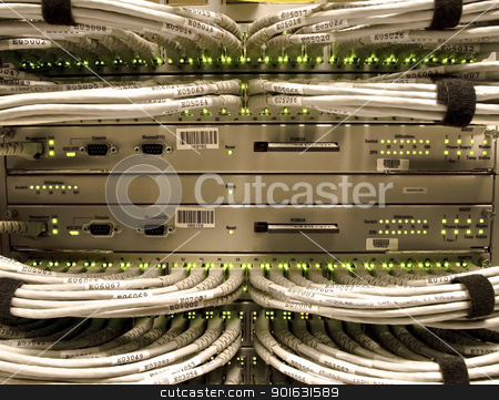Network wiring stock photo, A behind the scenes look at business communications technology. by Michel Loiselle