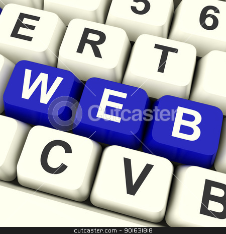 Web Computer Keys Showing Online Websites Or Internet stock photo, Web Computer Keys In Blue Showing Online Websites Or Internet by stuartmiles