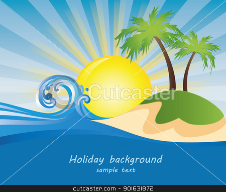 Summer stock vector clipart, Summer themed beach illustration background with place for text  by Miroslava Hlavacova