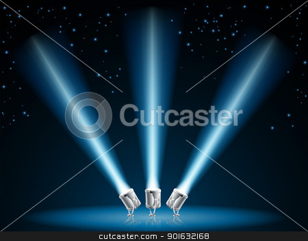 Search or spot lights illustration stock vector clipart, Illustration of search lights or spot lights pointing into dark sky with stars by Christos Georghiou