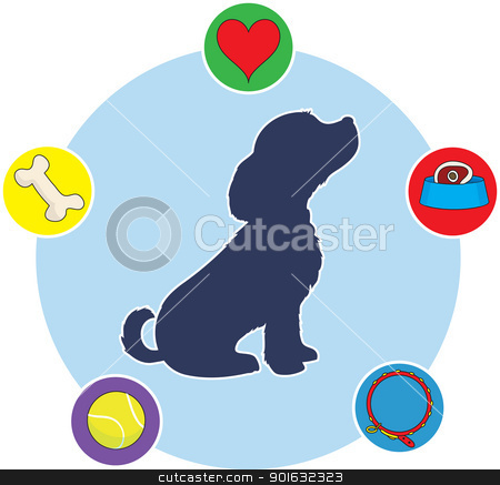Things Dogs Love stock vector clipart, A silhouette of a puppy in profile on a circular background, with icons of puppy thoughts dotted around the circle. by Maria Bell