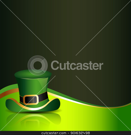 saint patricks day illustration stock vector clipart, st. patrick's day hat with clover on background by pinnacleanimates
