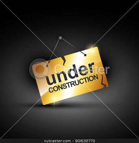 under construction stock vector clipart, vector under construction sign in shiny golden color by pinnacleanimates